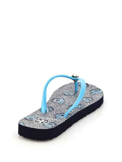 burch sandals lyst burch logo rubber sandals in blue