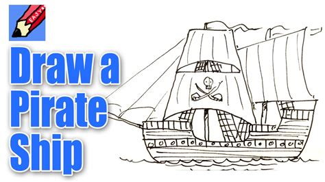 pirate boat drawing easy how to draw a pirate ship real easy youtube