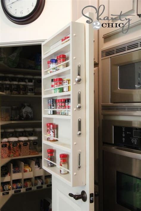 diy spice rack inside a cabinet door architecture