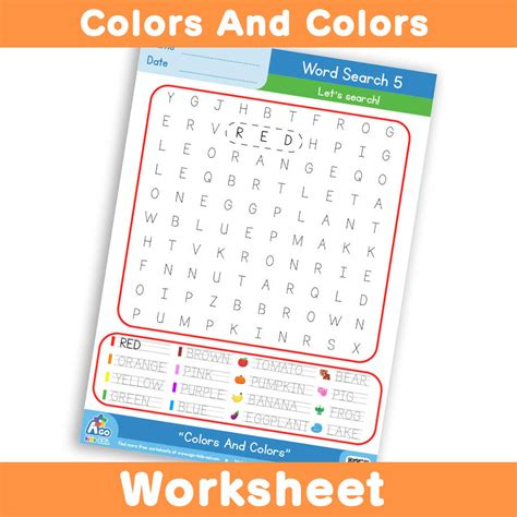 Search Free Ws Free Colors And Colors Worksheet Word Search 5 Bingobongo