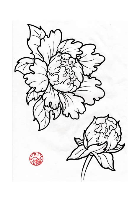 33 amazing peony outline tattoos