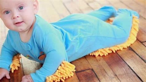Baby Floor Duster Suit baby mop polishes floors as baby crawls
