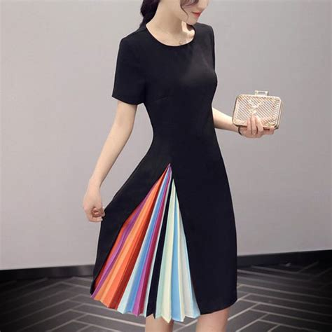 rainbow colored dresses sleeved black dress with neck has high