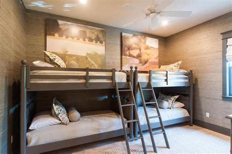 Kids Built In Loft Bed Cottage Boy S Room Side By Side Bunk Beds