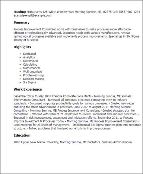 Bpm Consultant Cover Letter by Professional Process Improvement Consultant Templates To Showcase Your Talent Myperfectresume