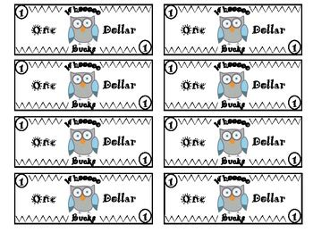 classroom bucks template owl themed classroom money system by inspired by