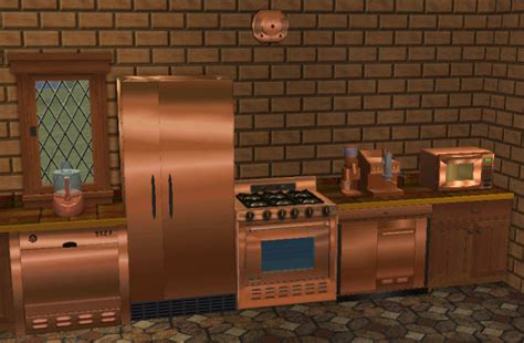 copper colored appliances mod the sims copper textures for base game kitchen