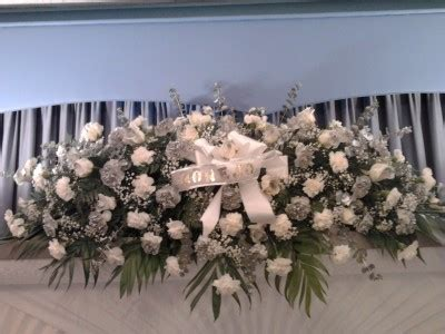 Silver and White Full Casket Spray Funeral Flowers in
