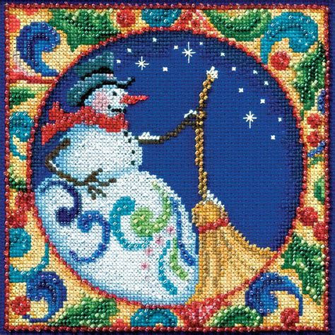 jim shore snowman beaded counted cross stitch kit
