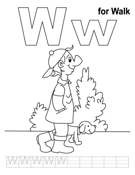 Free W Coloring Pages by W For Walk Coloring Page With Handwriting Practice