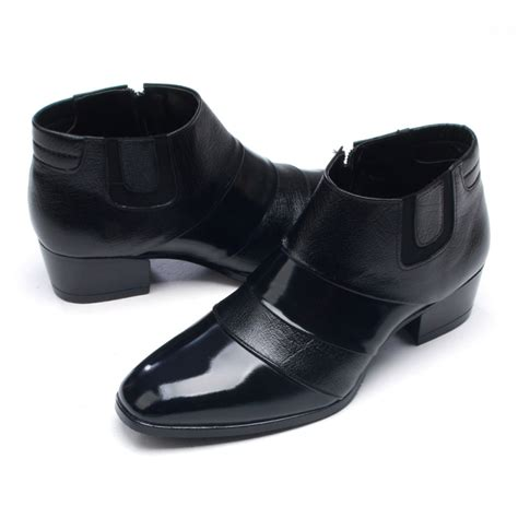 mens leather two touch band ankle boots