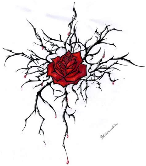 rose thorn tattoo with thorns design by