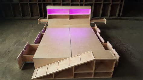 custom modernist maple storage bed  pet ramp