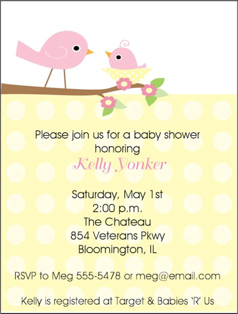 Bird Baby Shower Invitations by Yellow And Baby Bird Baby Shower Invitations