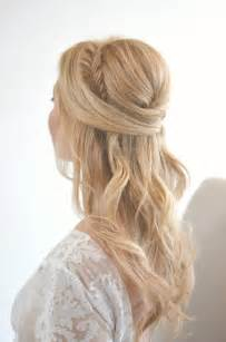 Fishtail half up half down wedding hairstyle ideas for brides