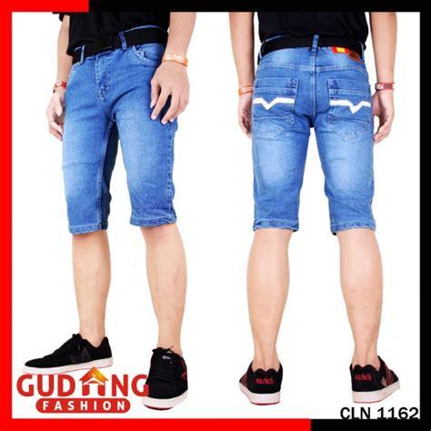 Celana Denim Pendek celana pendek pria denim biru cln 1162 gudang