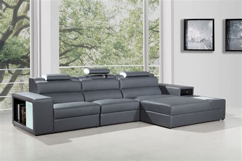 Polaris Sofa by Polaris Mini Grey Bonded Leather Sectional Sofa