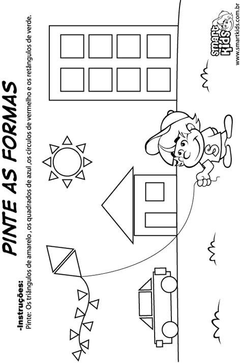 figuras geometricas atividades educação infantil atividade matem 225 tica formas geom 233 tricas pinte formas
