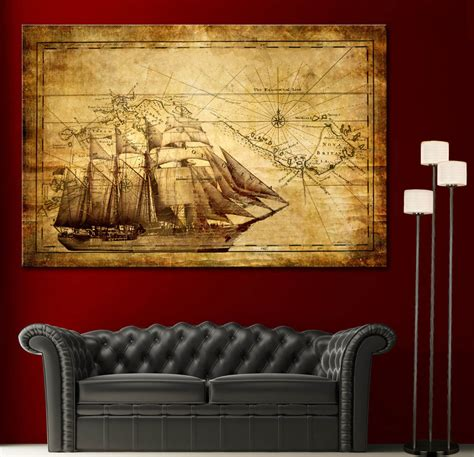home artwork decor canvas home wall art print sail ship map decor vintage