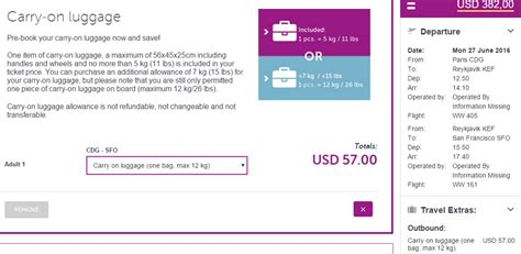carry on fee fare analysis wow air 99 lax or sfo one way to iceland