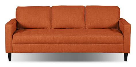 tangerine sofa paris linen look fabric sofa tangerine the brick
