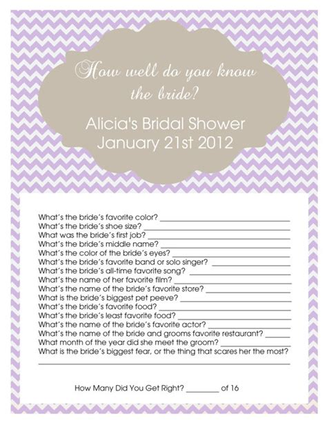 free printable personalized bridal shower games how well do you know the bride showers pinterest