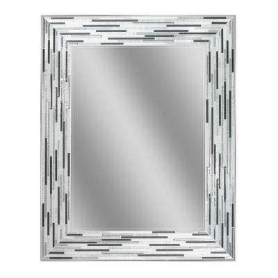 deco mirror mirrors 36 in x 24 in etched geometric wall deco mirror 29 5 in l x 23 5 in w reeded charcoal tiles