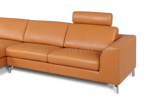 angela sectional sofa in camel leather by whiteline imports