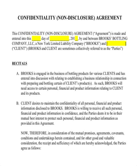 confidentiality and nondisclosure agreement template 12 non disclosure agreement templates free sle