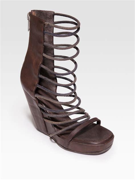leather gladiator sandals rick owens leather gladiator platform wedge sandals in