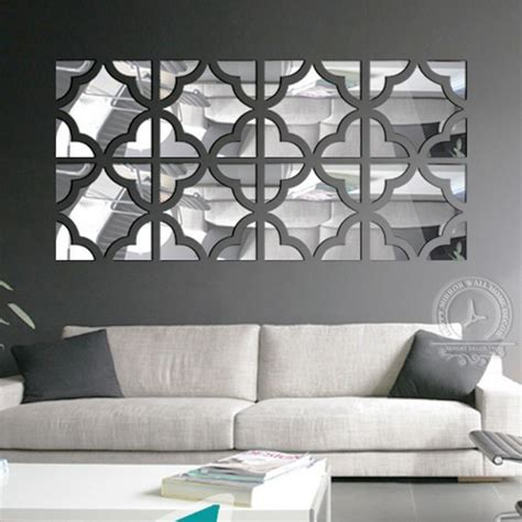 mirror decoration 4 squares set big size 3d acrylic mirror surface wall