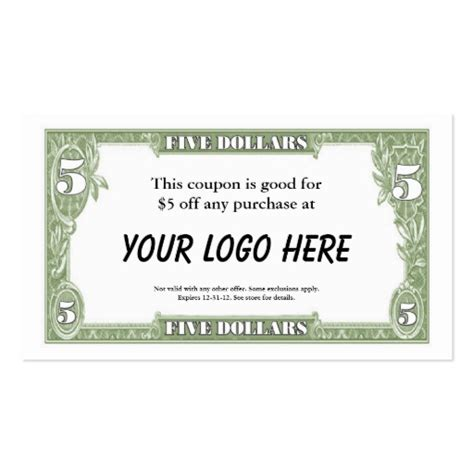 coupon cards template search results for dollar bill gift certificate template