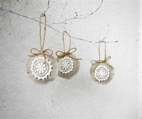 christmas ornaments linen and lace holiday by hellovioleta