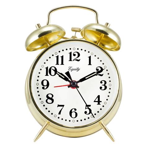 equity by la crosse analog 4 5 in gold metal bell keywind alarm clock 13012 the