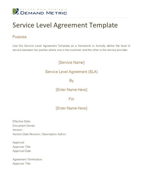 shared service agreement template service level agreement template