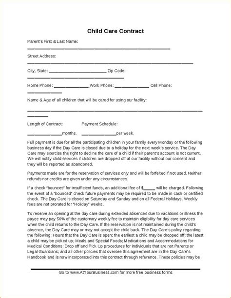 babysitting contract template 25 best ideas about daycare contract on