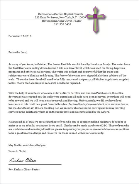 letter requesting donations for church