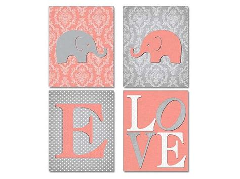 Damask Nursery Decor Coral Gray Nursery Elephant Wall Coral Nursery Decor