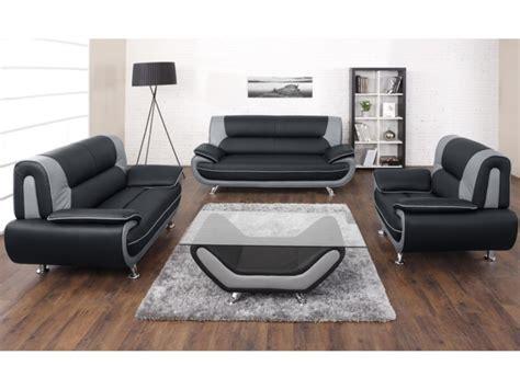 canap 233 et fauteuil en simili noir et gris ou nigel