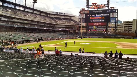 section 123 comerica park field level infield comerica park baseball seating