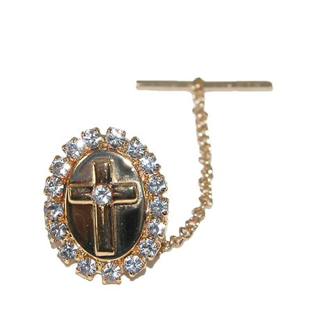 mens rhinestone cross tie tack pin by ctm 174 s jewelry