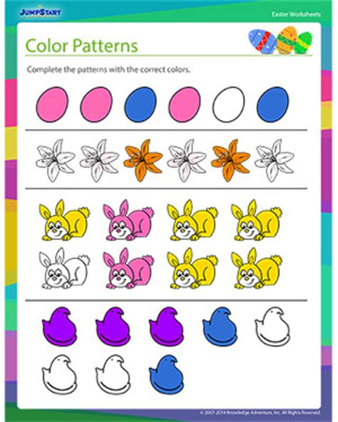 Colors Patterns To Jump Start The Weekend by Color Patterns Easter Worksheets Jumpstart