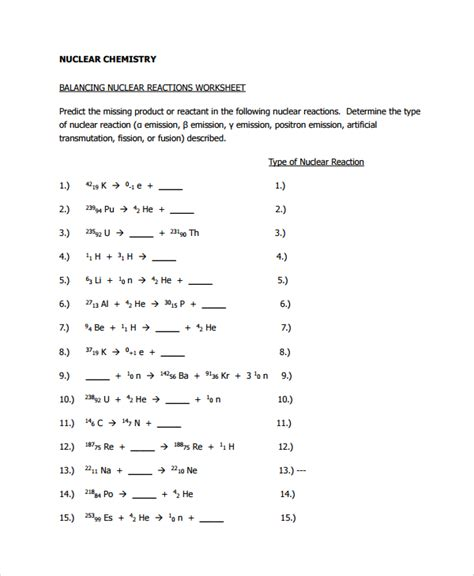 Nuclear Chemistry Worksheet Answer Key by Sle Balancing Equations Worksheet Templates 9 Free