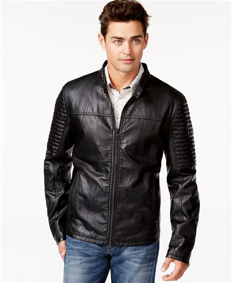 Guess 2015 Leather guess faux leather quilted moto jacket in black for lyst