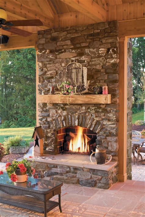outdoor fireplace ideas rustic stone outdoor fireplace