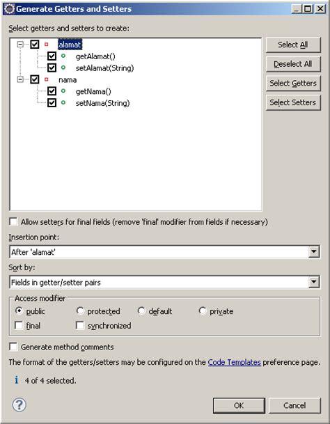 fungsi setter dan getter pada java membangun aplikasi java menggunakan eclipse shintadinata