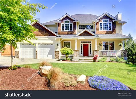large american beautiful house  red door   white