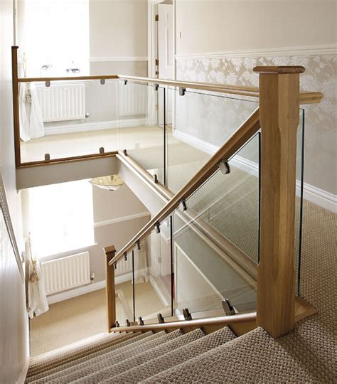 glass stair banisters contemporary oak glass steel glass staircases