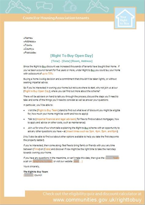 right to buy event invite letter template