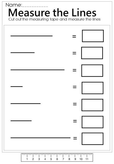 measure the line worksheet mathematics measurement